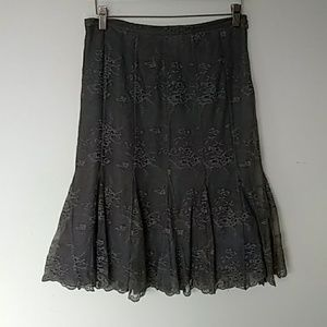 Calvin Klein taupe sheer lace lined skirt sz 2